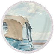 Classic Vintage Morris Minor 1000 Convertible At The Beach Round Beach Towel