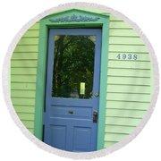 Classy Farmhouse Door Round Beach Towel