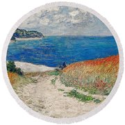 Claude Monet's Path In The Wheat Fields At Pourville-1882 Round Beach Towel