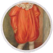 Claude Renoir In A Clown Costume Round Beach Towel
