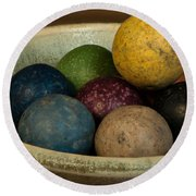 Clay Marbles In Bowl Round Beach Towel