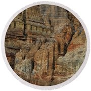 Clay Mountain Formations In Front Round Beach Towel