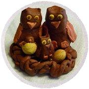 Clay Owl Family Round Beach Towel