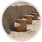 Clay Pots At Huaca Pucllana In Lima Peru Round Beach Towel