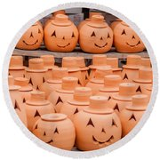 Clay Pumpkins Standing Happy Near The Wood Fence Round Beach Towel