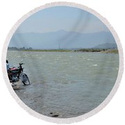 Cleaning Motorcycle At Riverside Swat Valley Pakistan Round Beach Towel
