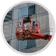 Cleaning Skyscraper Window And Wall With Snorkel Singapore Round Beach Towel