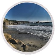 Clear At Trinidad Round Beach Towel by Adam Jewell