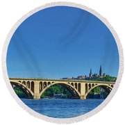 Clear Blue Skies At Key Bridge Round Beach Towel
