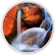 Clear Creek Falls Round Beach Towel by Inge Johnsson