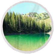 Clear Green Water Round Beach Towel