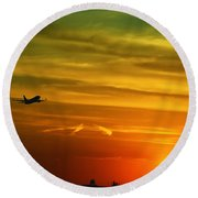 Cleared For Takeoff Round Beach Towel