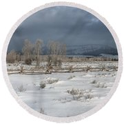 Clearing Storm In The Tetons Round Beach Towel
