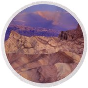Clearing Sunrise Storm Zabriske Point Death Valley National Park California Round Beach Towel