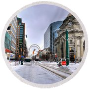 Clearing The Way...downtown Buffalo Ny 2014 Round Beach Towel