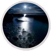 Clearville Moonrise Round Beach Towel
