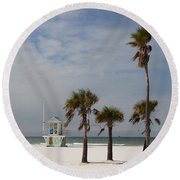 Clearwater Beach In Wintertime Round Beach Towel