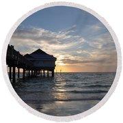 Clearwater Florida Pier 60 Round Beach Towel
