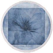 Clematis Cyanotype Round Beach Towel