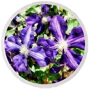 Clematis On A Stone Wall Round Beach Towel