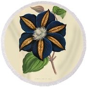 Clematis Star Of India Round Beach Towel