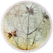 Clematis Virginiana Seed Head Textures Round Beach Towel