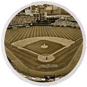 Cleveland Baseball In Sepia Round Beach Towel