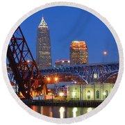 Cleveland Blue Hour Panoramic Round Beach Towel