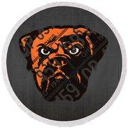 Cleveland Browns Football Team Retro Logo Ohio License Plate Art Round Beach Towel
