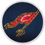 Cleveland Cavaliers Nba Team Retro Logo Vintage Recycled License Plate Art Round Beach Towel
