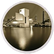 Cleveland In Sepia Round Beach Towel