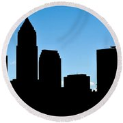 Cleveland In Silhouette Round Beach Towel by Frozen in Time Fine Art Photography