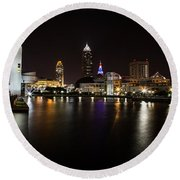 Cleveland Lakefront Nightscape Round Beach Towel