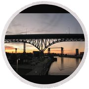 Cleveland Ohio Flats At Sunset Round Beach Towel