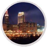 Cleveland Panoramic Night Round Beach Towel