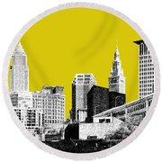 Cleveland Skyline 3 - Mustard Round Beach Towel