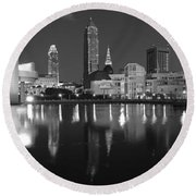 Cleveland Skyline At Dusk Black And White Round Beach Towel by Jon Holiday