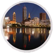 Cleveland Skyline At Dusk Round Beach Towel by Jon Holiday