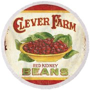 Clever Farms Beans Round Beach Towel