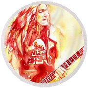 Cliff Burton Playing Bass Guitar Portrait.1 Round Beach Towel