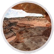 Cliff Overhang In Southwest Sandstone Canyon - Utah Round Beach Towel by Gary Whitton
