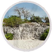 Cliff Stairs 1 Round Beach Towel