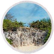 Cliff Stairs 2 Round Beach Towel