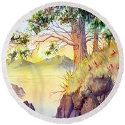 Cliff Trees Round Beach Towel