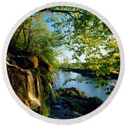 Cliffs And Trees Along Malanaphy Round Beach Towel