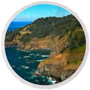 Cliffs At Cape Foulweather Round Beach Towel by Adam Jewell