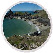 Cliffs In Bretagne Round Beach Towel