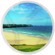 Cliffs In The Sea, Pointe De Pen-hir Round Beach Towel