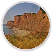Cliffs Of Cape D'or From A Promontory Over Advocate Bay-ns Round Beach Towel