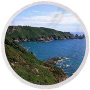 Cliffs On Isle Of Guernsey Round Beach Towel